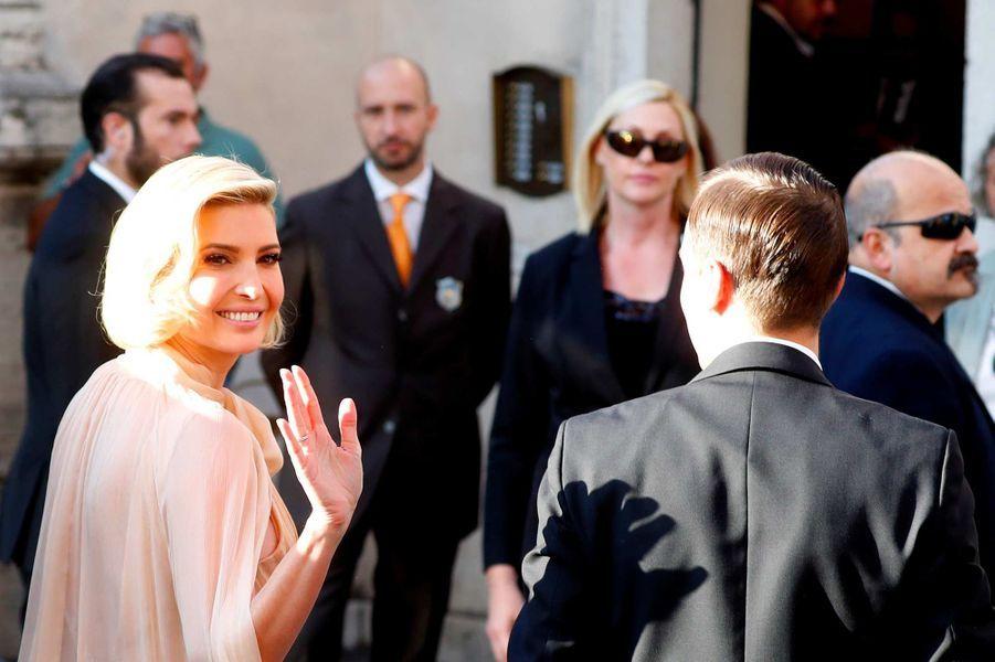Ivanka Trump arrive au mariage de Misha Nonoo à Rome, le 20 septembre 2019.