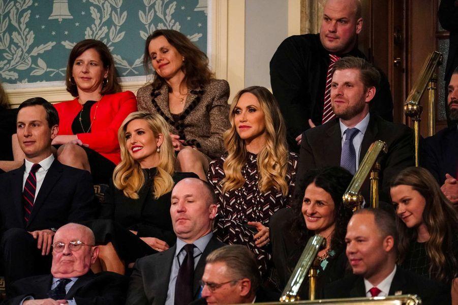 Jared Kushner, Ivanka Trump, Lara et Eric Trumplors du discours sur l'état de l'Union, le 6 février 2019.
