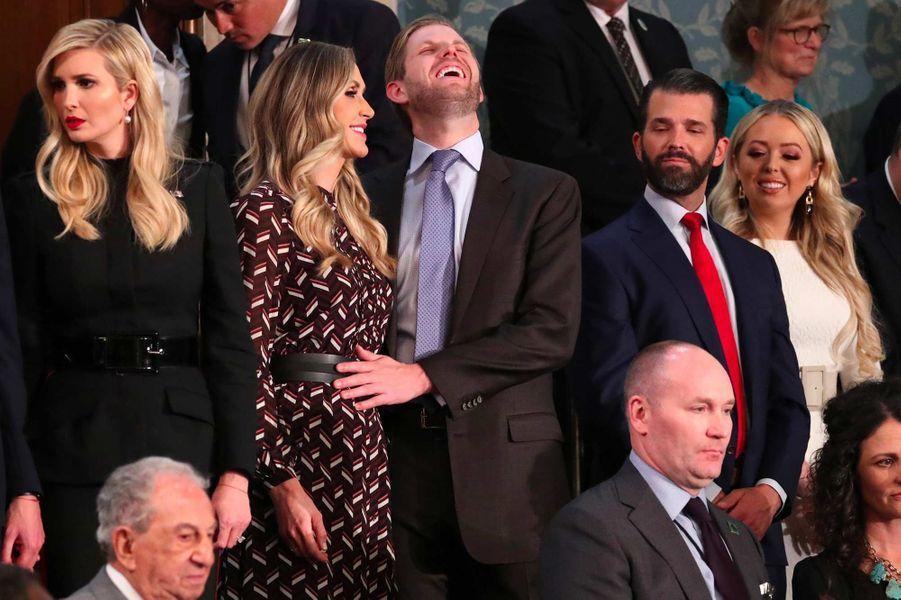 Ivanka Trump, Lara et Eric Trump, Donald Trump Jr et Tiffany Trumplors du discours sur l'état de l'Union, le 6 février 2019.
