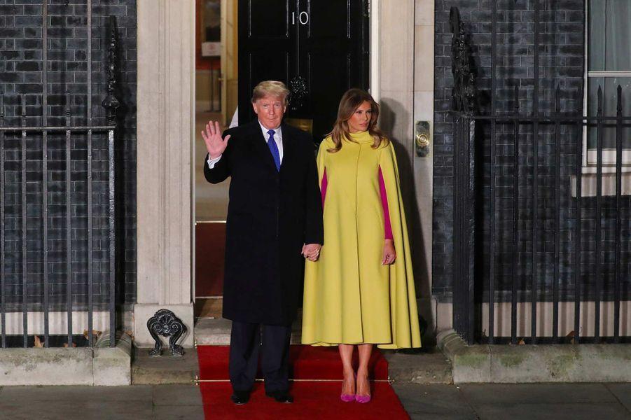 Donald et Melania Trump arrivent au 10 Downing Street à Londres, le 3 décembre 2019.
