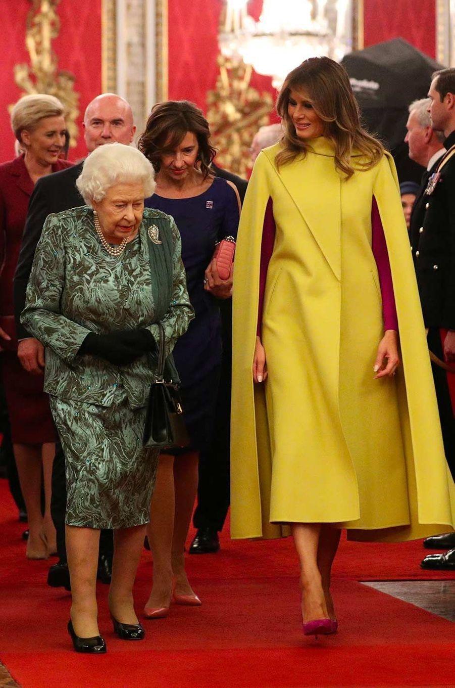 La reine Elizabeth II et Melania Trump à Buckingham Palace, le 3 décembre 2019.