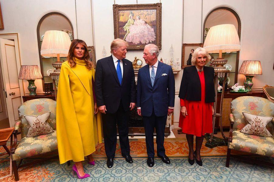 Melania et Donald Trump avec le prince Charles et la duchesse de Cornouailles Camilla à Clarence House, le 3 décembre 2019.