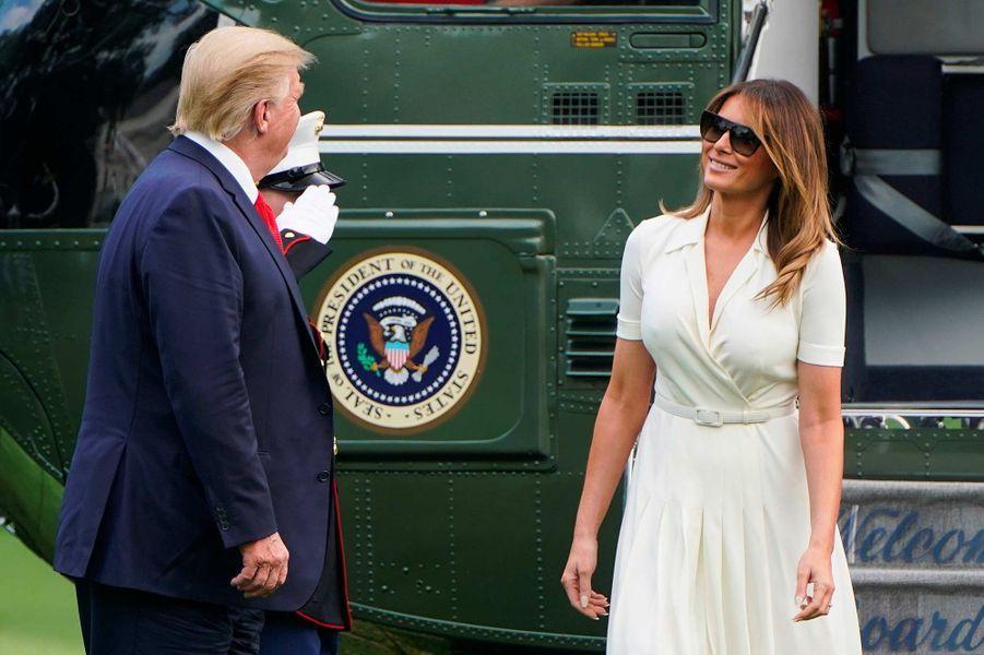 Donald et Melania Trump de retour à la Maison-Blanche, le 7 juillet 2019.
