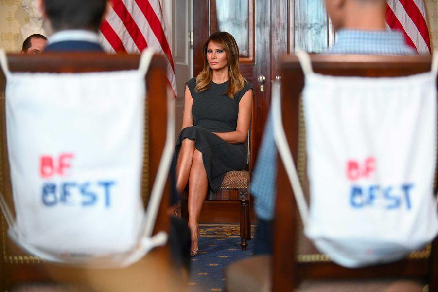 Melania Trump lors d'une rencontre avec des adolescents à propos du vapotage, à la Maison-Blanche, le 9 octobre 2019.