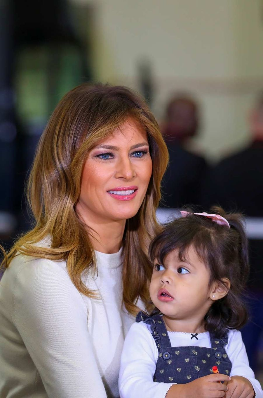 Melania Trump lors d'une rencontre avec des familles de militaires sur la base d'Anacostia-Bolling à Washington, le 9 décembre 2019.
