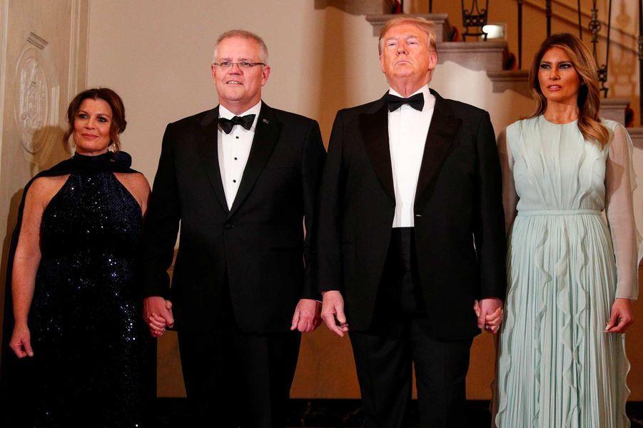 Donald et Melania Trump reçoivent le Premier ministre australien Scott Morrison et sa femme Jennifer à la Maison-Blanche, le 20 septembre 2019.
