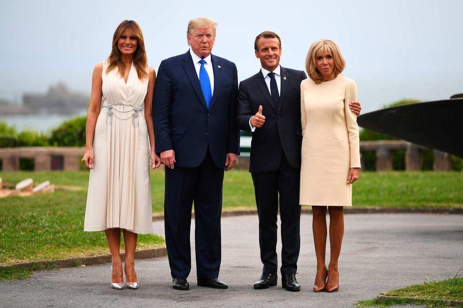 Melania et Donald Trump avec Emmanuel et Brigitte Macron à Biarritz, le 24 août 2019.