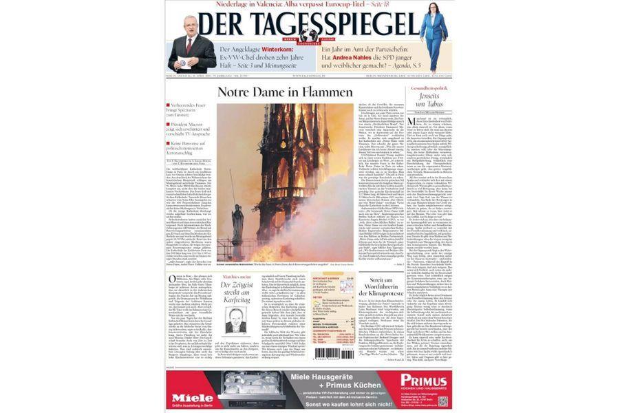L'incendie de Notre-Dame de Paris en Une de «Der Tagesspiegel» (Allemagne).