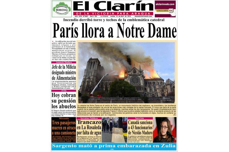 L'incendie de Notre-Dame de Paris en Une d'«El Clarín» (Argentine).