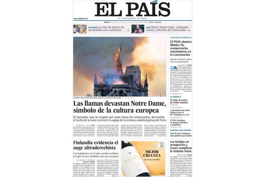L'incendie de Notre-Dame de Paris en Une d'«El Pais» (Espagne).