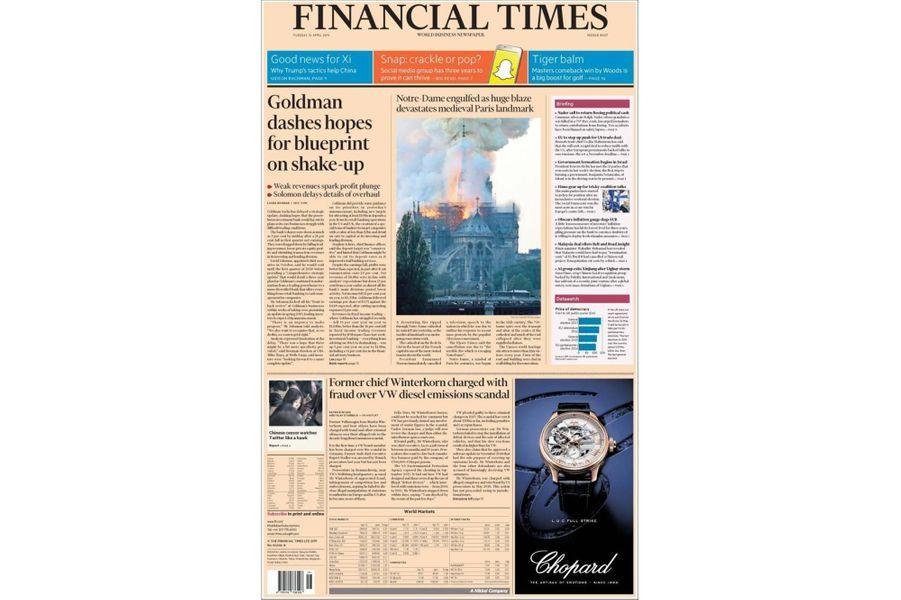 L'incendie de Notre-Dame de Paris en Une du «Financial Times».