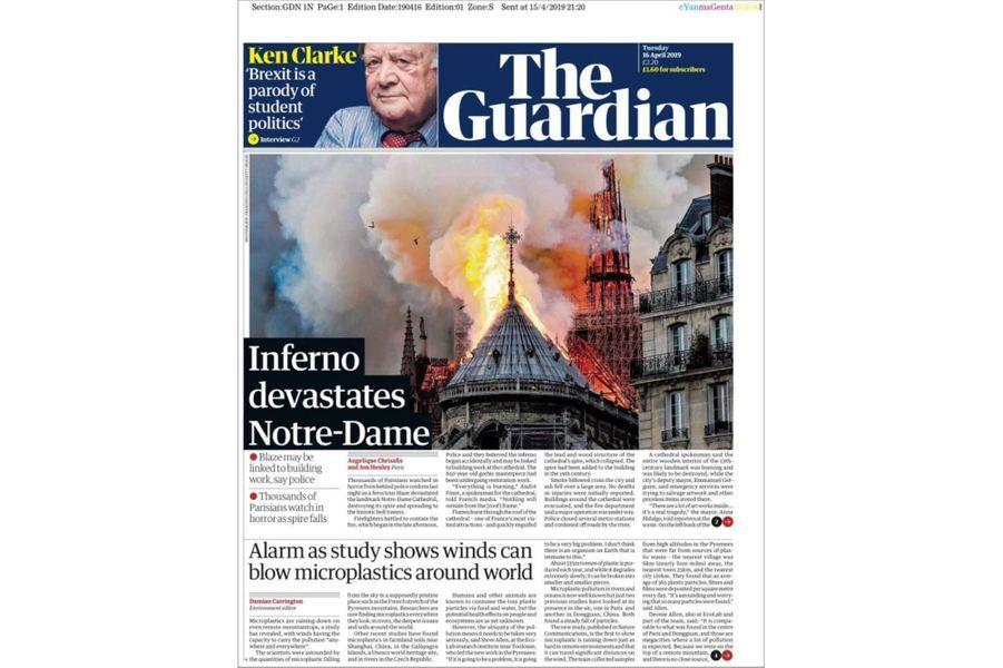 L'incendie de Notre-Dame de Paris en Une du «Guardian» (Royaume-Uni).