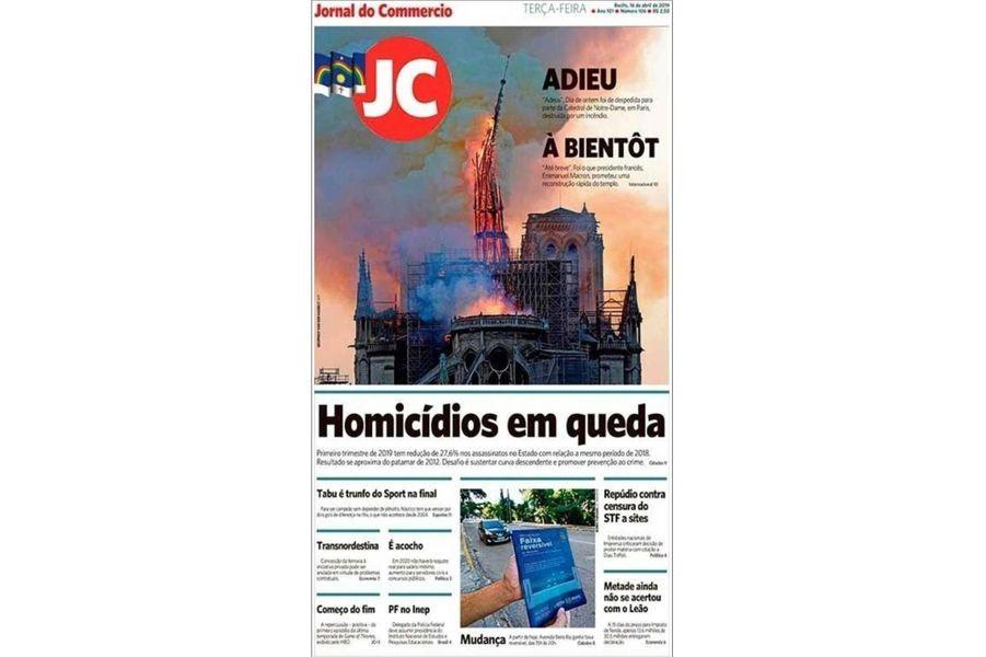 L'incendie de Notre-Dame de Paris en Une du «Jornal do Commercio» (Brésil).