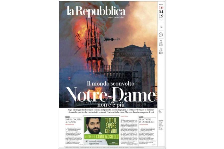 L'incendie de Notre-Dame de Paris en Une de «La Repubblica» (Italie).