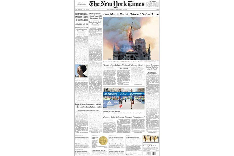 L'incendie de Notre-Dame de Paris en Une du «New York Times» (Etats-Unis).