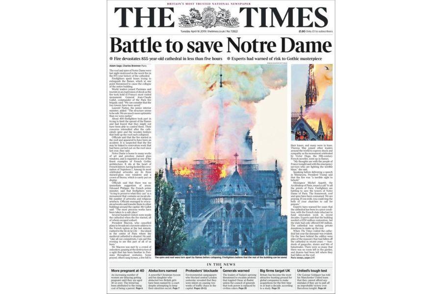 L'incendie de Notre-Dame de Paris en Une du «Times» (Royaume-Uni).