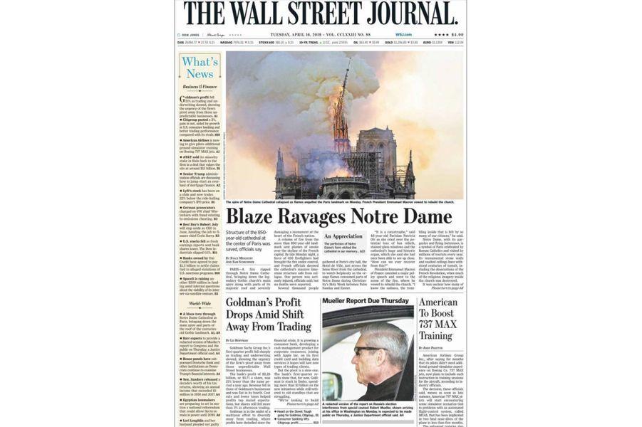 L'incendie de Notre-Dame de Paris en Une du «Wall Street Journal» (Etats-Unis).