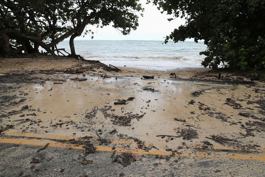 Une route inondée àKaaawa, dans l'archipel d'Hawaï.