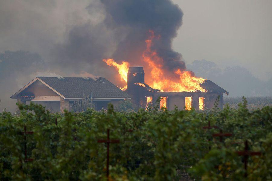 Une maison en feu en plein milieu d'un vignoble, àGeyserville