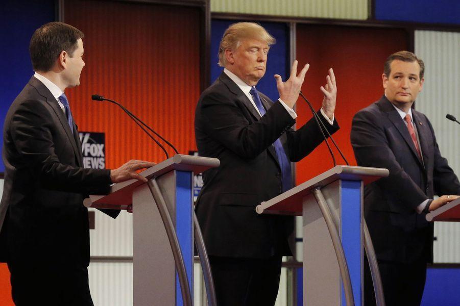 Marco Rubio, Donald Trump et Ted Cruz lors d'un débat pour l'investiture républicaine à Detroit, le 3 mars 2016.