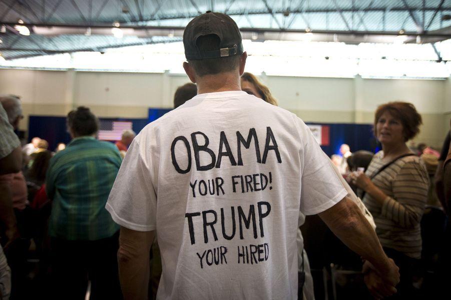 Un supporter de Donald Trump à un de ses meetings à Dubuque, le 26 août 2015.