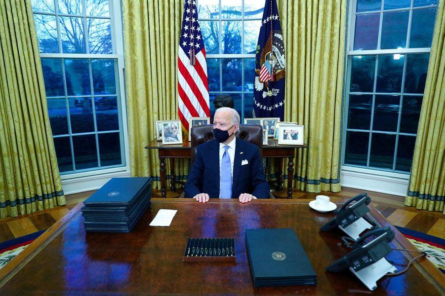 Le Bureau ovale décoré par Joe Biden, le 20 janvier 2021.