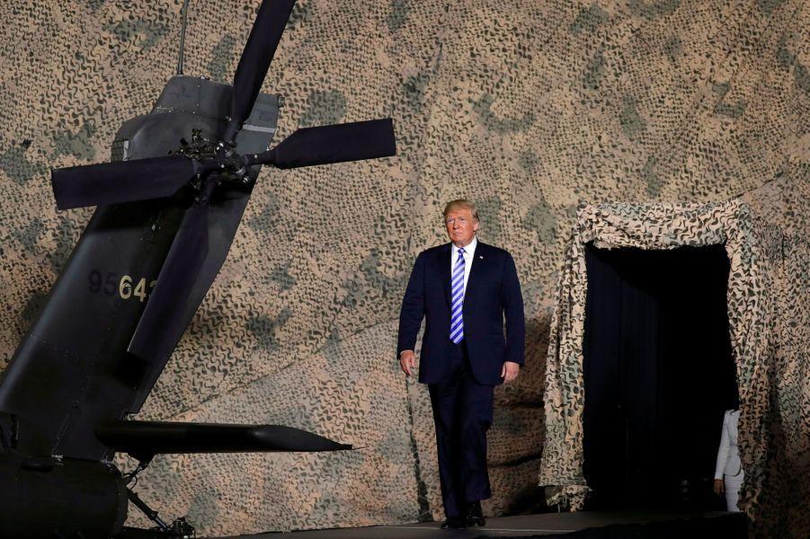 Donald Trump s'apprête à s'exprimer, lundi, à Fort Drum, dans l'Etat de New York.