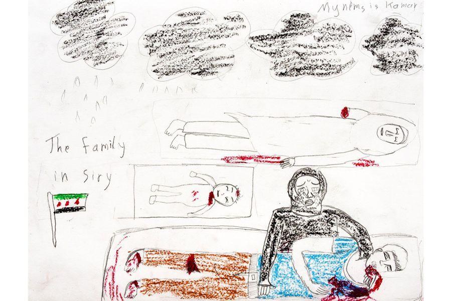 Le photojournaliste américainDavid Gross s'est rendu en Turquie, à la rencontre de réfugiés syriens. Avec une équipe formée notamment d'une «art-thérapeute» turque (Ezgi), et d'un professeur syrien (Khalid), il a organisé des cours de dessin dans des écoles, dans le but de capter l'impact profond de la guerre civile syrienne sur ces enfants. C'est ainsi qu'est né le projet «Inside-Outside», disponible sur une application gratuite, et dont le but est de faire parler de cette cause, d'une manière différente.Reyhanli, Hatay, Turquie - Thème de cette séance: Affronter la mort. Dessin d'une fille syrienne de 13 ans. Une mère pleure son fils, son bébé, et sa sœur.Pour en savoir plus, lisez les confidences que David Gross a faites à Paris Match.