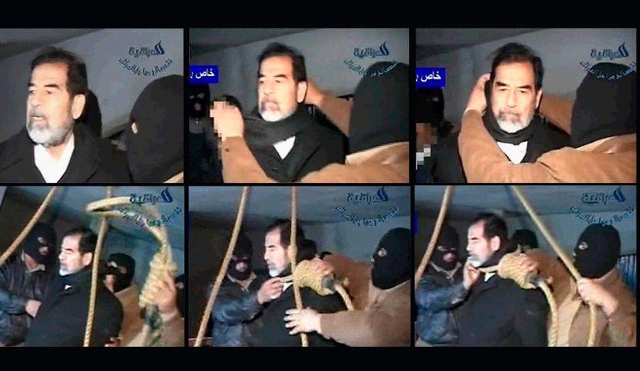 Arrêté dans une cave à Tikrit dans la nuit du 13 au 14 décembre 2003 par l'armée américaine, l'ancien homme fort de l'Irak est remis aux nouvelles autorités de son pays. Condamné à mort pour crimes contre l'humanité le 5 novembre 2006, verdict confirmé en appel le 26 décembre de la même année, il est pendu quatre jours plus tard à Bagdad.