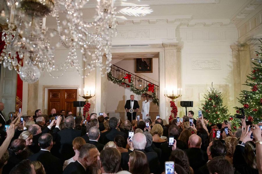 Donald et Melania Trump à la Maison-Blanche, samedi soir.