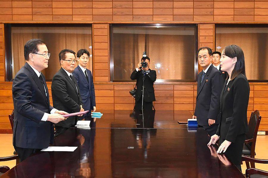 Kim Yo Jong dans la zone démilitarisée entre la Corée du Nord et la Corée du Sud, le 12 juin 2019.