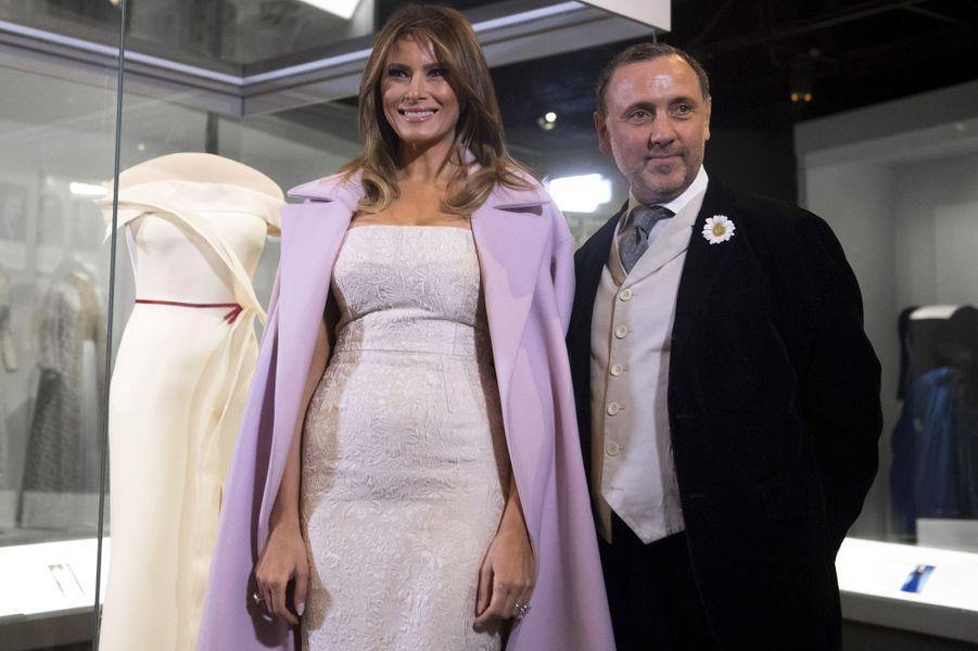 Hervé Pierre etMelania Trump à Washington, le 20 octobre 2017.