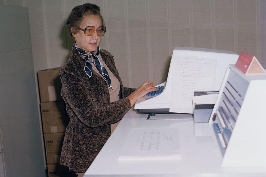 Katherine Johnson en 1980, au centre de recherche de la Nasa à Langley.