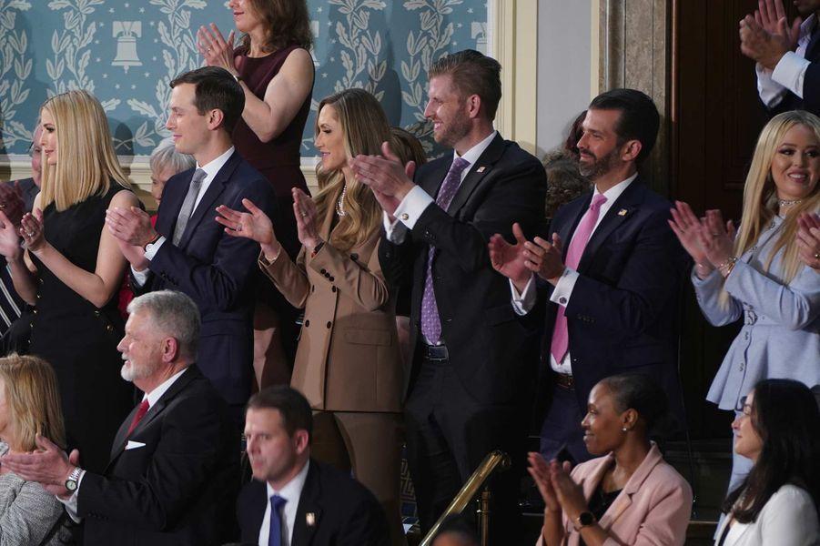Ivanka Trump, Jared Kushner, Lara Trump, Eric Trump, Donald Trump Jr et Tiffany Trumpau Capitole, le 4 février 2020.