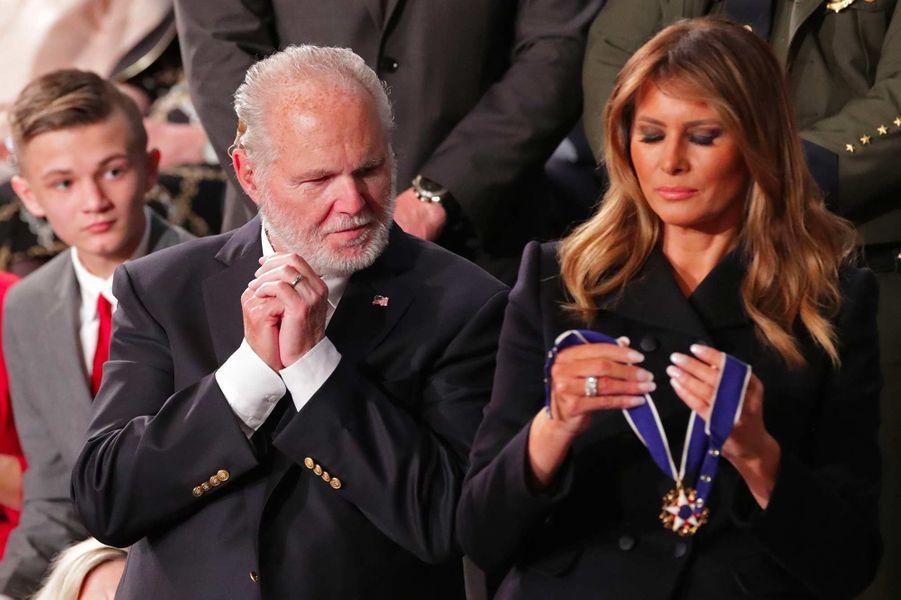 Rush Limbaugh et Melania Trumpau Capitole, le 4 février 2020.