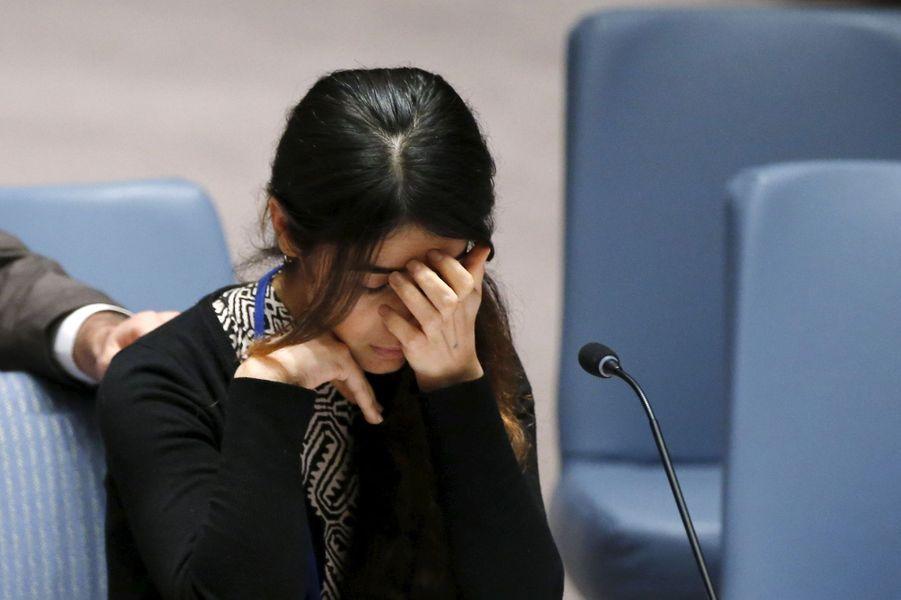 Nadia Murad s'exprime devant les Nations unies à New York, en décembre 2015.