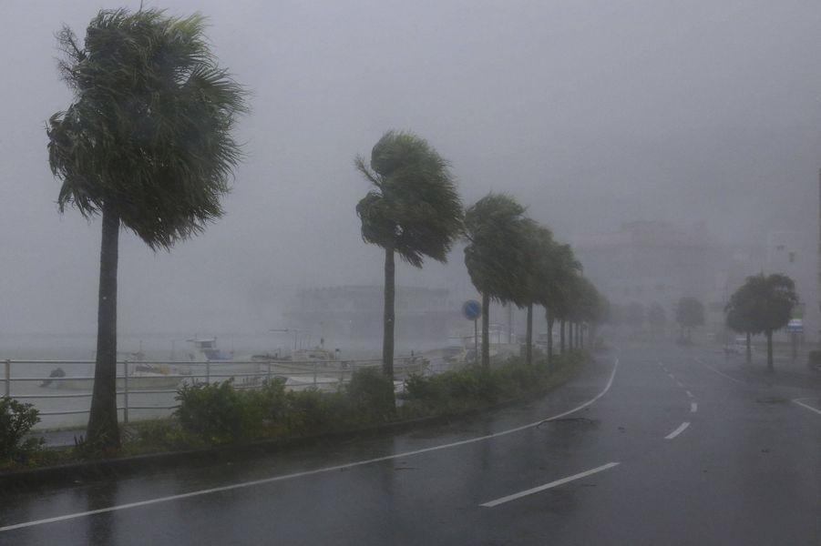 """Le cyclone Haishen, placé en catégorie """"extrêmement fort"""" a commencé à frapper le Japon dimanche"""