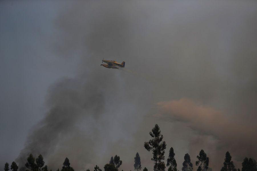 """Si les feux de forêtsétaient """"maîtrisés à 90%"""" lundi matin, selon la Protection civile, les flammes ravagent toujours le centre du Portugal."""