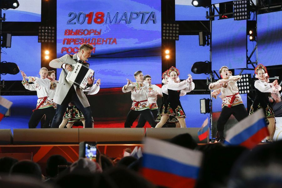 Un spectacle pro-Poutine organisé à Moscou.