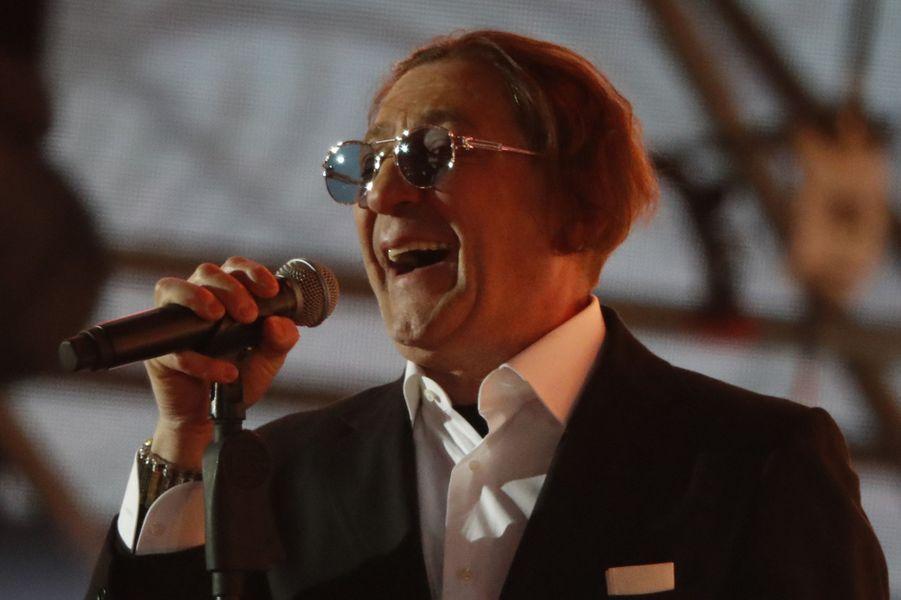 Le chanteur Grigory Leps lors d'un concert pro-Poutine le soir de sa réélection, à Moscou.