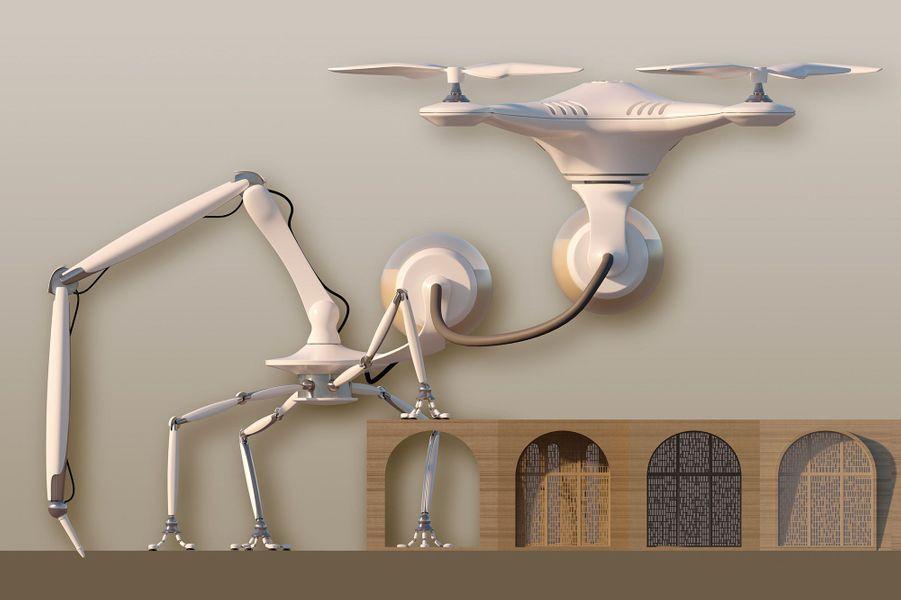 Vue d'un drone et d'une imprimante 3D.