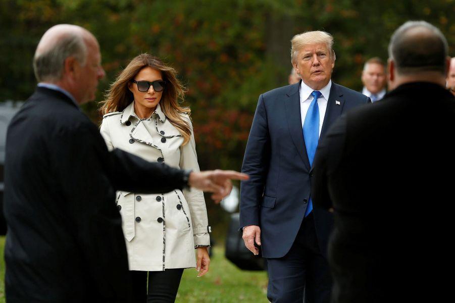 Donald et Melania Trump sur le lieu d'entrainement duSecret Service àBeltsville, dans le Maryland,le 13 octobre 2017.