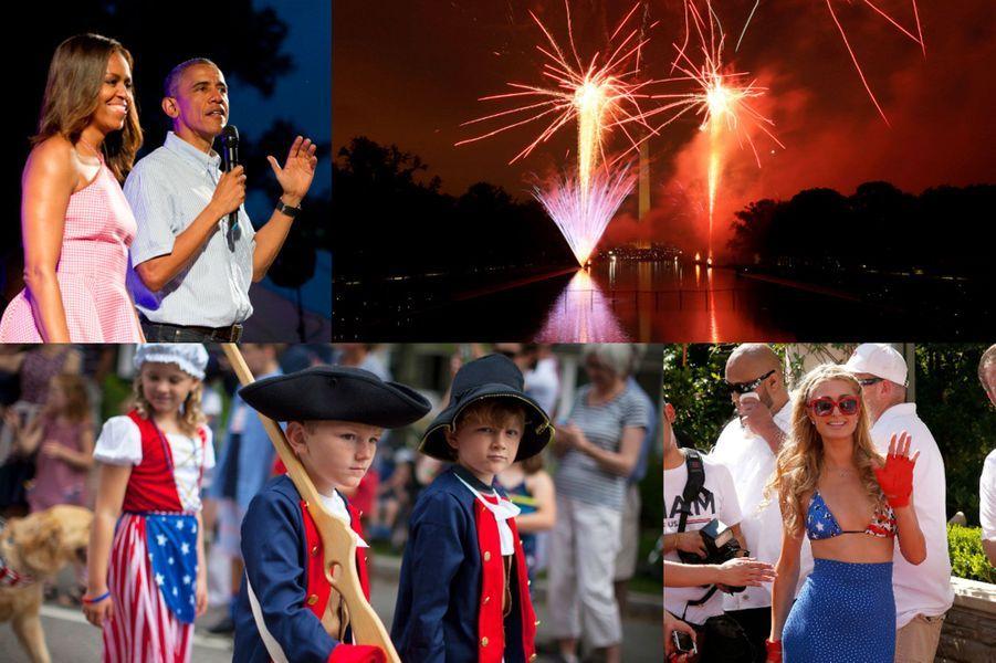 """Samedi 4 juillet dernier, les Américains ont fêté l'«Independance Day». Cette fête nationale célèbrelejour de la signature de la déclaration d'indépendance en 1776. Partout aux Etats-Unis : feux d'artifices, concerts et parades ont rythmés cette journée spéciale. Le présidentBarack Obamaet sa femmeMichelle Obamaont célébré cette soirée à la Maison Blanche, accueillant leurs invités avec un concert de Bruno Mars.L'amitié franco-américaine célébrée à New York pour la fête nationaleLa frégate «L'Hermione» a salué samedi la Statue de la Liberté à New York, point d'orgue symbolique de son voyage, à l'occasion de la fête nationale américaine célébrant l'indépendance du pays le 4 juillet 1776. La réplique du trois-mâts de La Fayette, symbole de l'amitié franco-américaine, a salué la Statue aux environs de midi), entourée d'une flottille de dizaines de bateaux qui l'avaient auparavant rejointe près du pont du Verrazano, dans la baie de New York. Tous ont ensuite fait route ensemble vers l'île de la Statue de la Liberté, autre symbole de l'amitié franco-américaine puisqu'elle a été donnée par la France aux Etats-Unis en 1884.Le passage près de la Statue, saluée par deux avions F18 de l'armée américaine, et un jet de lances de pompiers, était le point d'orgue symbolique du voyage américain de L'Hermione, entamé le 5 juin à Yorktown (Virginie, est). Les ministres français de l'EcologieSégolène Royalet de laDéfense Jean-Yves Le Driany ont assisté depuis un bateau des garde-côtes, le """"Sturgeon Bay"""", avant que L'Hermione n'effectue une boucle sur la rivière Hudson, qui longe Manhattan par l'ouest."""
