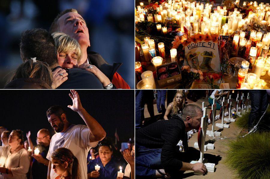 L'émotion après les fusillades de Sandy Hook, Las Vegas, Aurora et Sutherland Springs.
