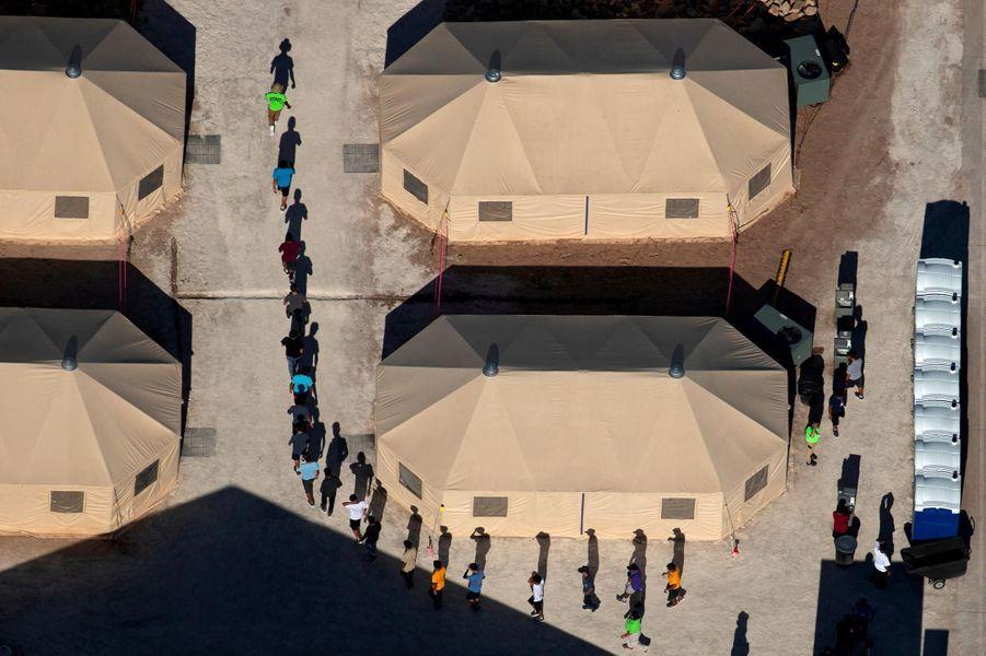 Vue aérienne de Tornillo, où se trouve un des centres de détention des autorités américaines au Texas, en juin 2018.