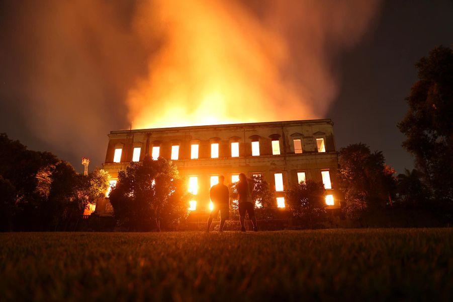 Un incendie a ravagé le Musée National de Rio de Janeiro, au Brésil, le 2 septembre 2018.