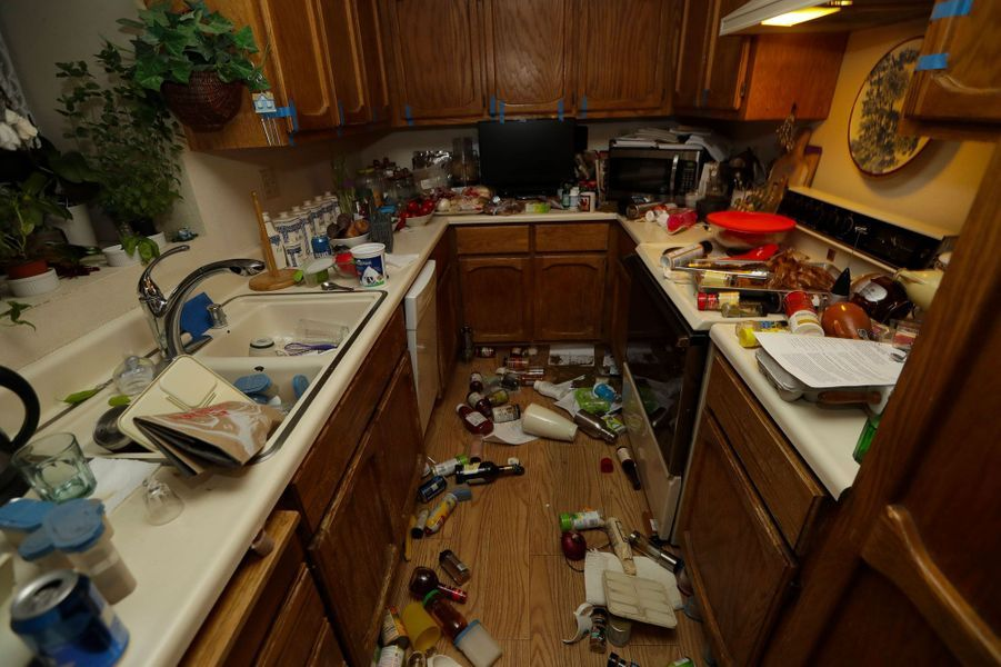 Une cuisine samedi après le séisme de vendredi à Ridgecrest, en Californie.