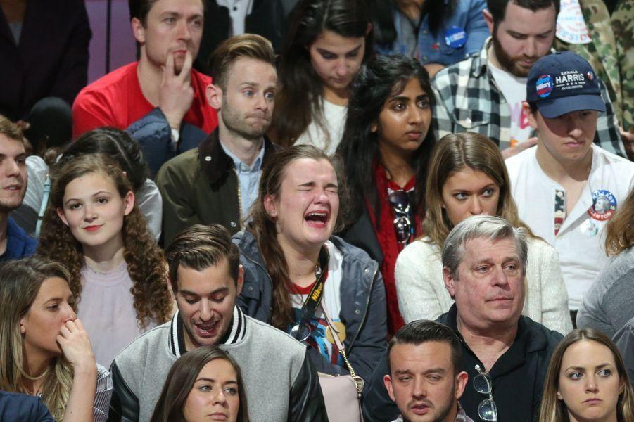 Les larmes des partisans d'Hillary Clinton à New York, le mardi 8 novembre 2016.