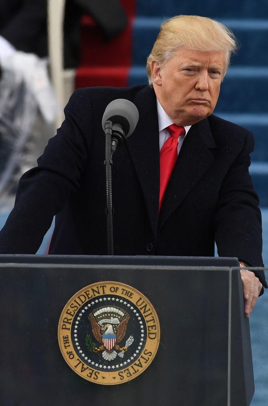 Donald Trump après sa prestation de serment, le 20 janvier 2017.