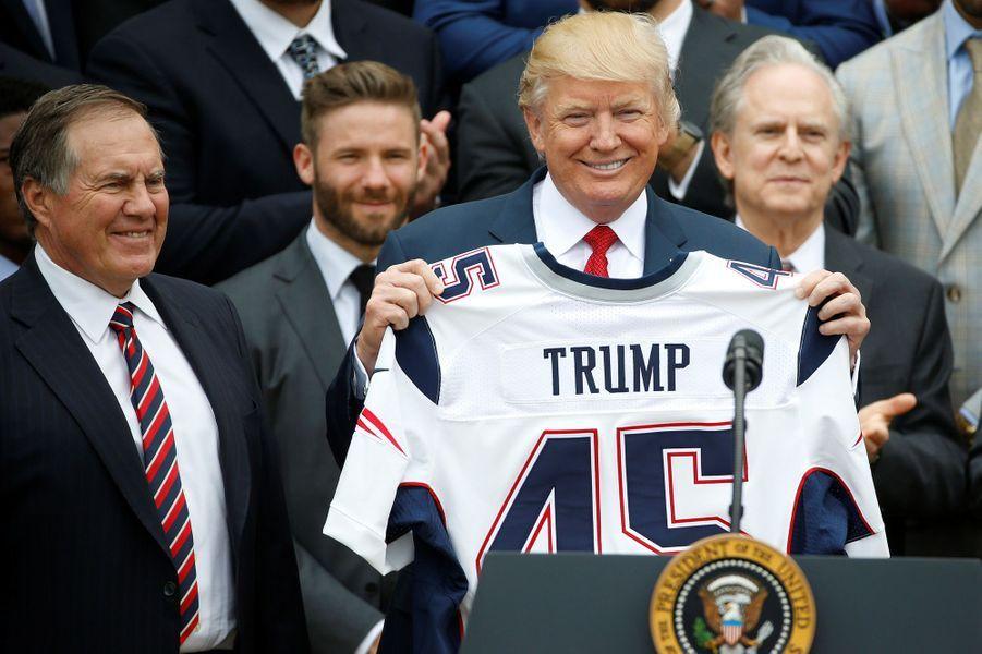 Donald Trump après avoir reçu lesNew England Patriots à la Maison Blanche, le 19 avril 2017.